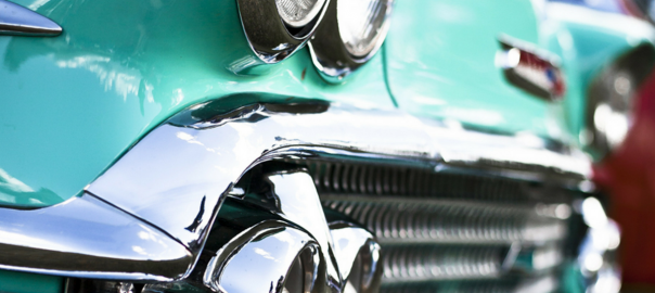 front grill of classic automobile