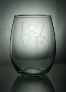 etched wine glass