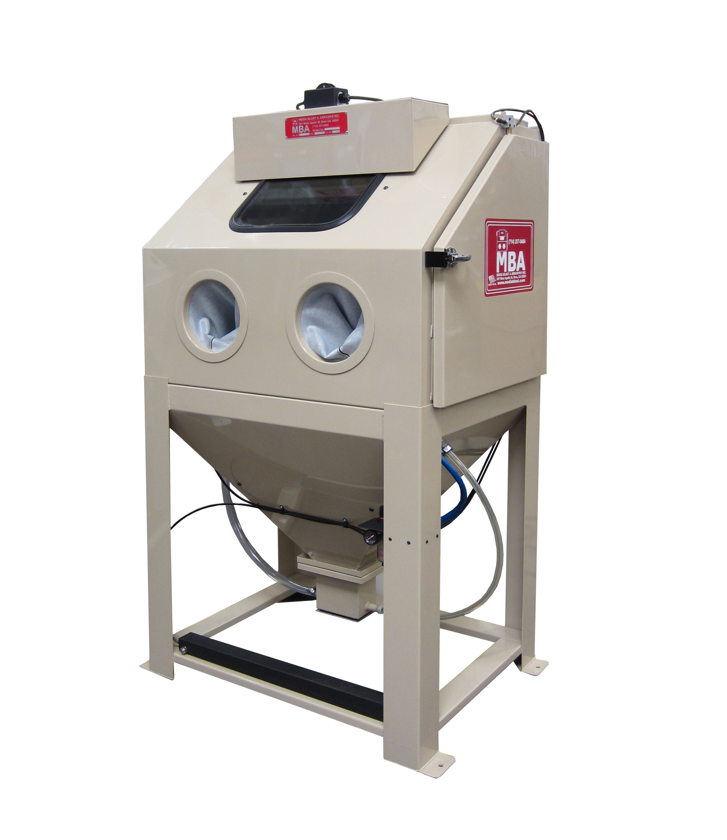 this blast cabinet comes with internal abrasive storage separator reclaimer and many included standard features